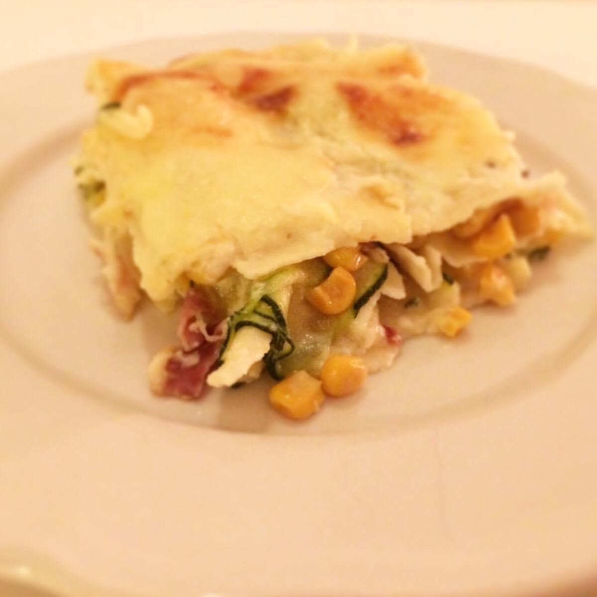 Vegetarisk lasagne (med bacon)