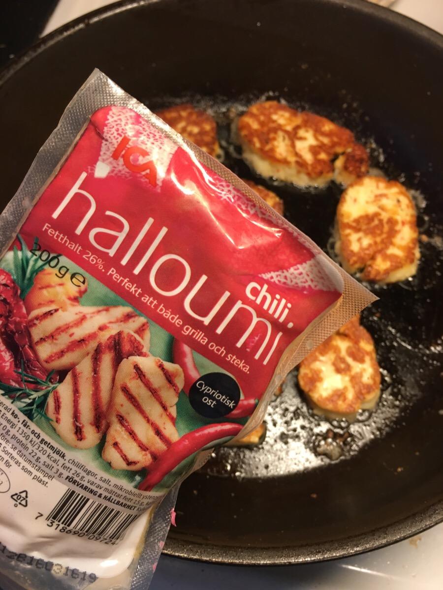 Halloumi, ostbitar med chili