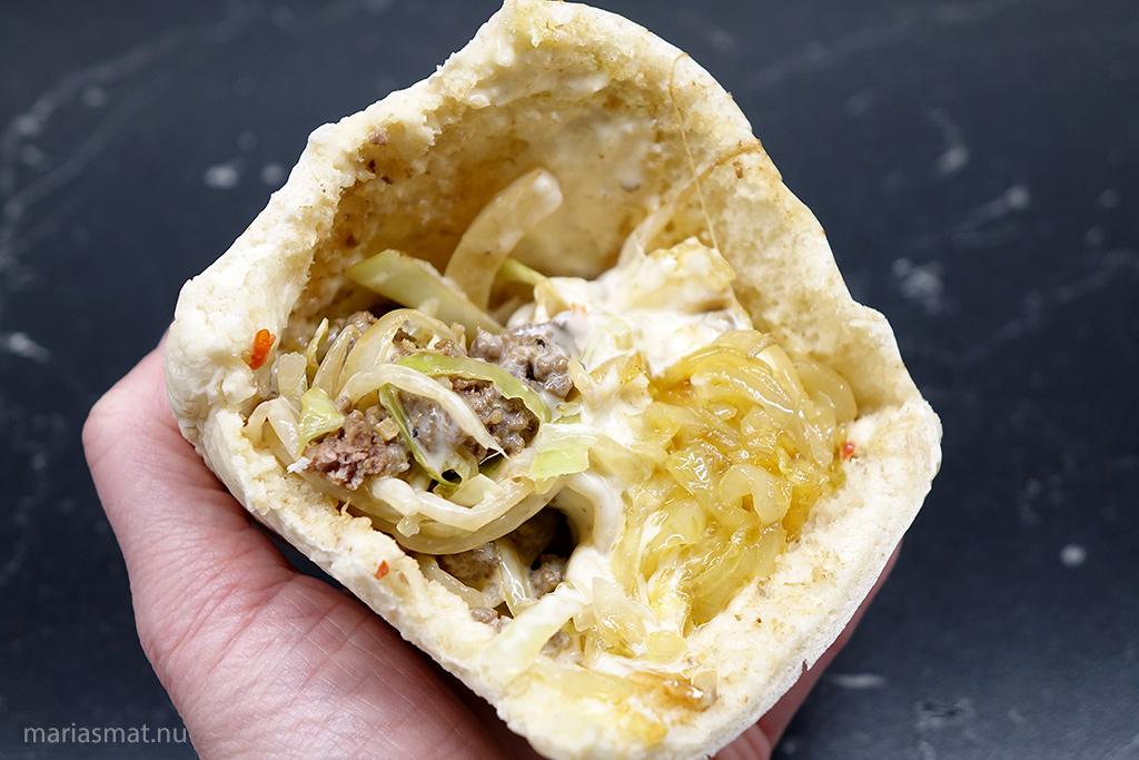 Kinesiska tacos med karamelliserd lök