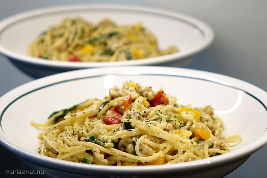 Pasta Carbonara med kycklingfärs
