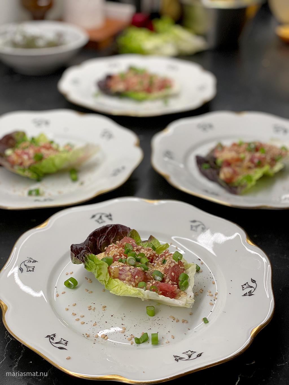 Tonfisktartar med soja- och chilimajonnäs
